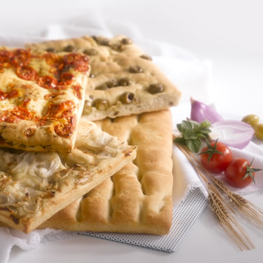 FROZEN SNACK, FINGER FOOD - FROZEN ITALIAN SNACK frozen precooked and garnished focaccia